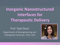 Inorganic nanostructured interfaces for therapeutic delivery